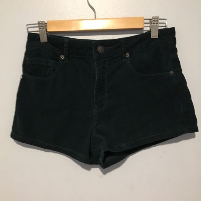 dark green corduroy shorts (f21)