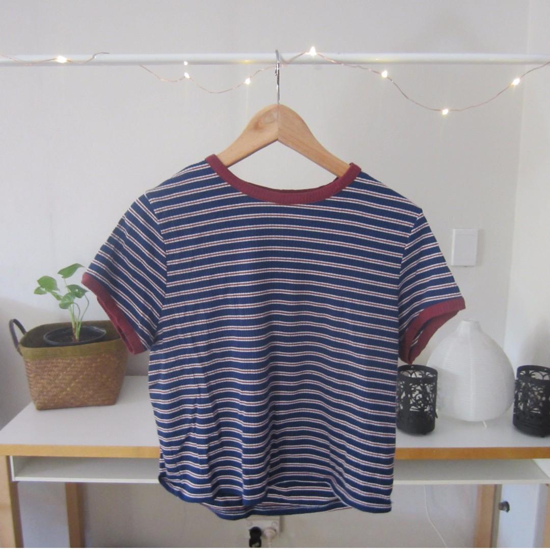 Factorie Striped Crop T-Shirt