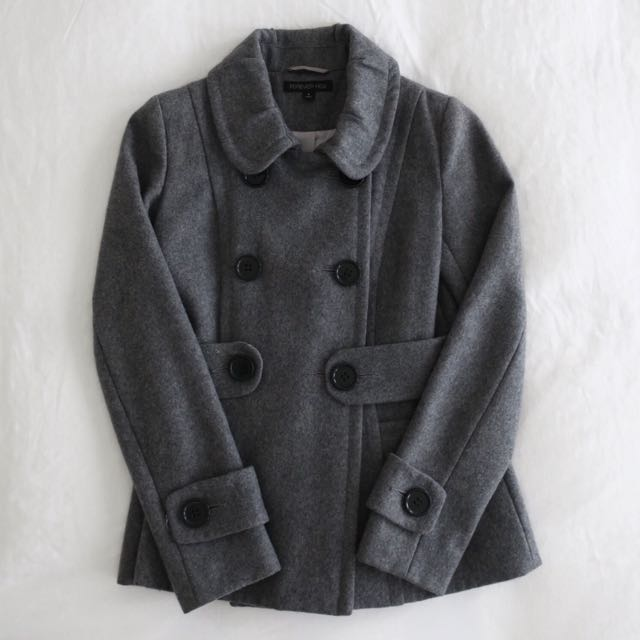 Forever New Pea Coat - Grey (Size 8)