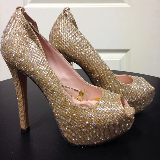 Gold Heels With Silver Sparkles