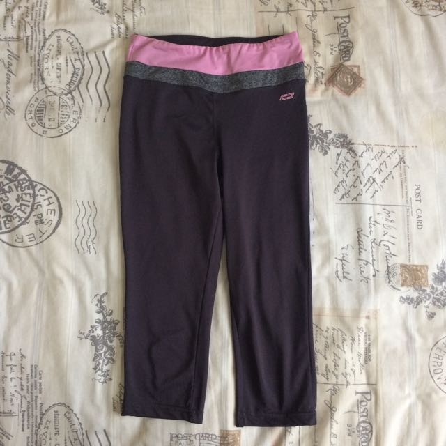Grey Pink Stretch Cropped Leggings Gym Activewear Casual Pants Size S/8