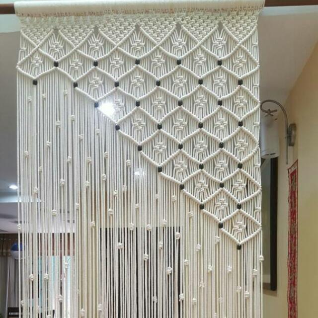 Handmade Beautiful Diamond Design Macrame Door Curtain