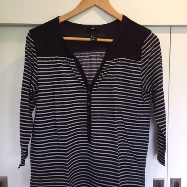 H&M Black And White Stripes Blouse