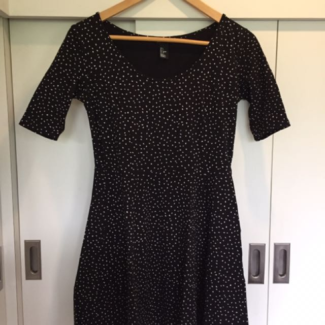 H&M Black Dress With White Spots Detail