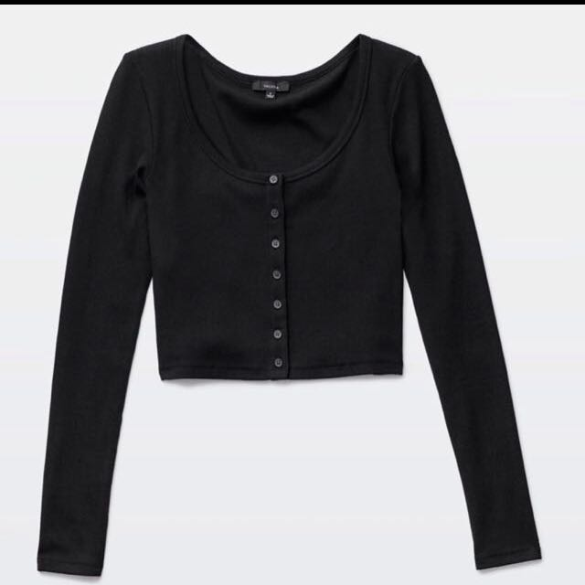 ISO Button Up Crop Top Similar To Photo