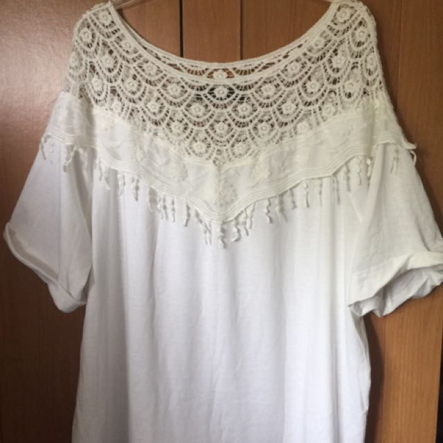 Lace Loose Fitted White Shirt