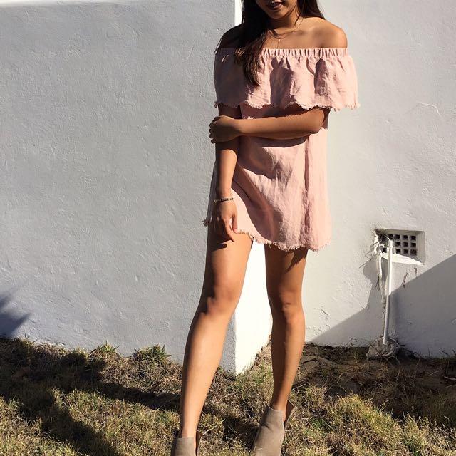 Mink Pink Dusty Pink Off The Shoulder Dress