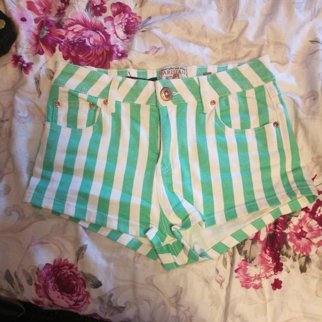 Mint Green Striped Short Shorts (J)