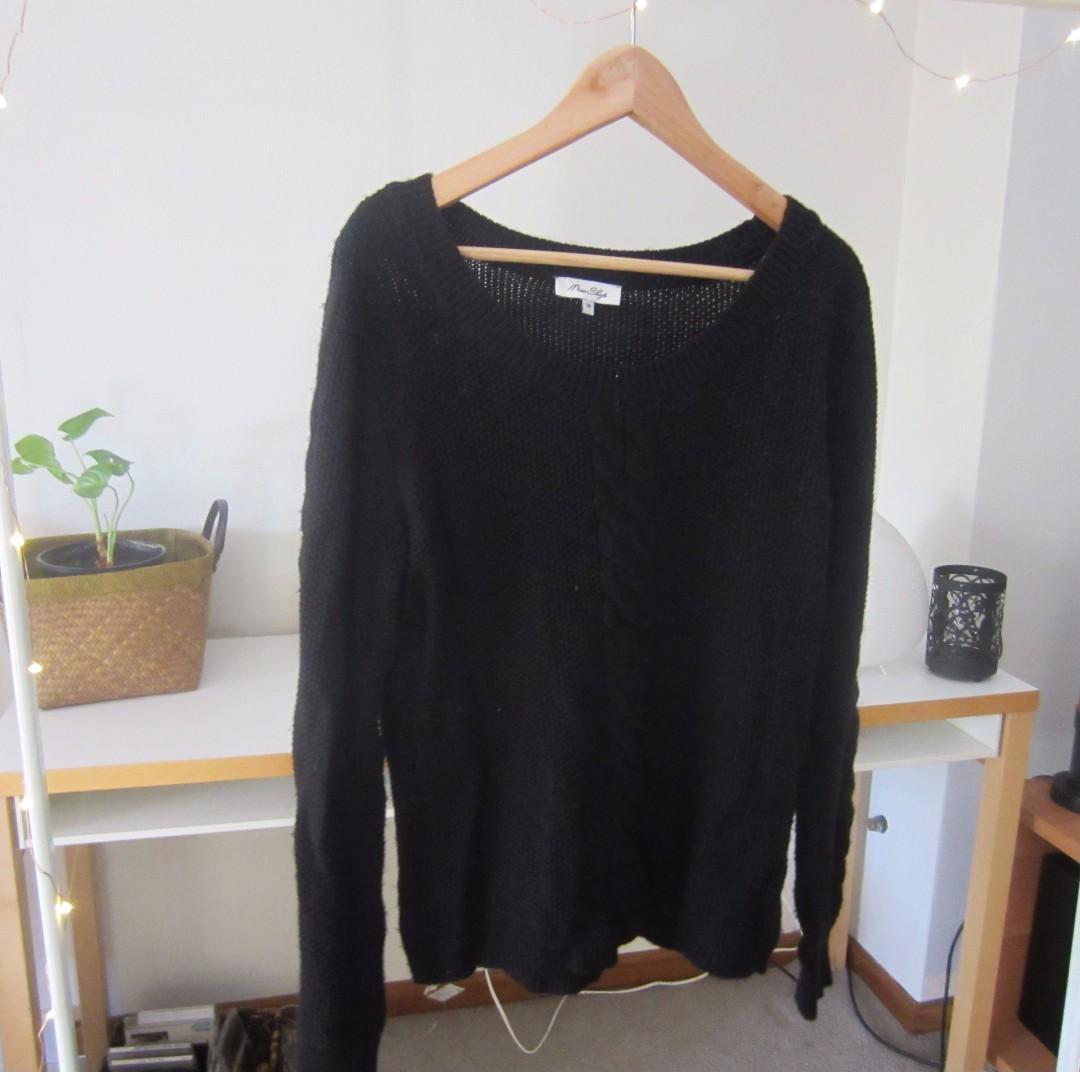 Miss Shop - Black Plait Knitted Jumper
