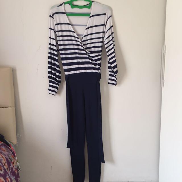 Navy Stripe Jumpsuit