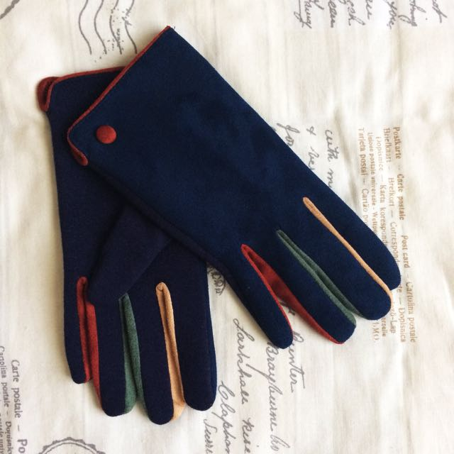 New Without Tags! Felt Look Navy Blue And Multi Coloured Gloves With Button Detail