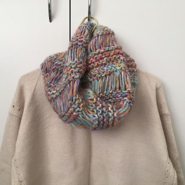Pastel knit blend snood scarf