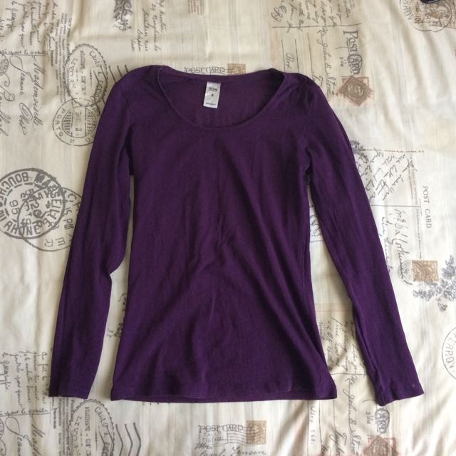 Purple Long Sleeve Scoop Neck Basic R Shirt Top Size Small/8