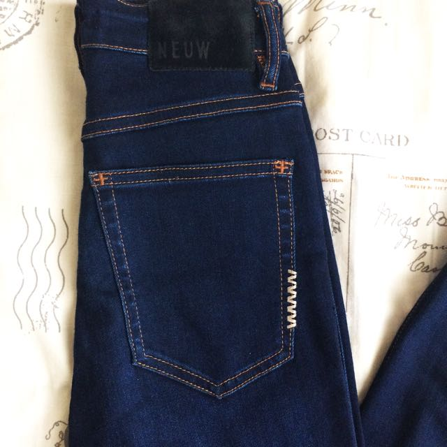 RRP $260! New Without Tags NEUW branded Dark Blue Denim High Waisted Skinny Jeans With Pockets Size XS/S 6/8