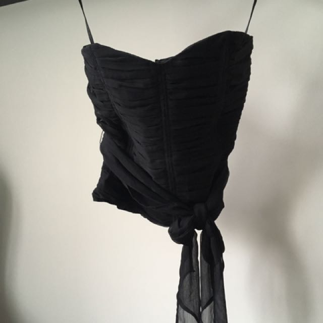 Tristan Ruched Strapless Black Top Size L