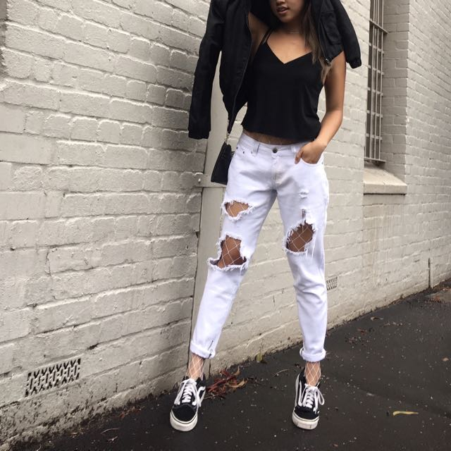 White Denim Ripped Distressed Jeans