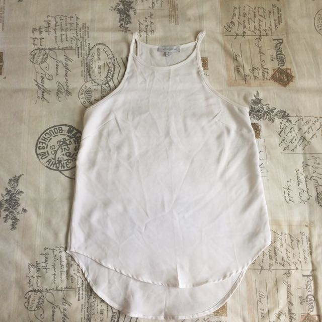 White Dressy Classic Loose Fit Top Tshirt Tank Blouse Size S/8