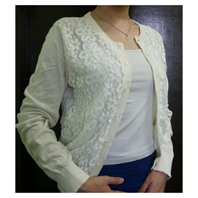 [Repriced] White Lace Cardigan