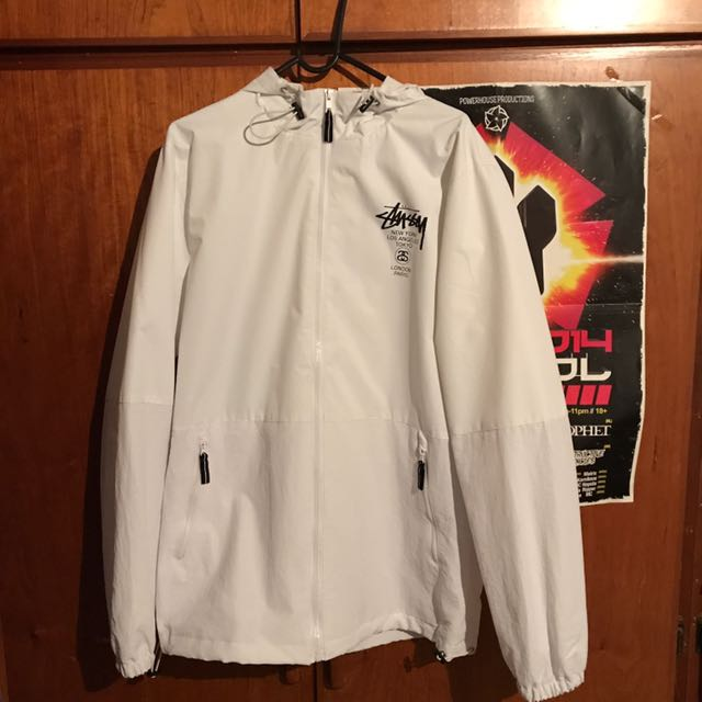 White Stussy Windbreaker Jacket