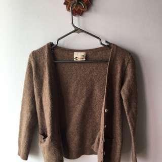 Oatmeal Wool Blend Cardigan