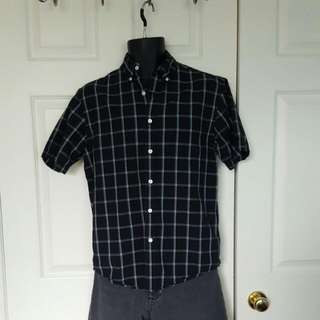 REDUCED Black Short Sleeved Button Up Shirt