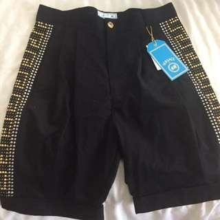 Brand New Men's Versace For H&M Studded Black Shorts