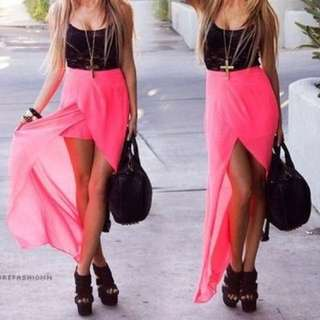 Pink High-Low Skirt