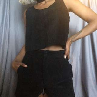 Real Leather/sued Tank And Short Set