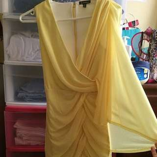 Le Chateau One-Shoulder Yellow Dress
