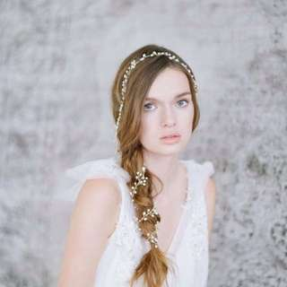 Pearl And Crystal Long Hair Vine (Suitable For Wedding Bridal Headpiece)