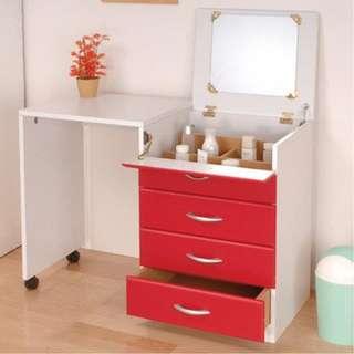 粉彩繽紛多功能伸縮化妝桌/化妝收納櫃(三色可選)