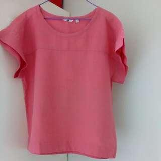 Uniqlo Rose Colored Linen Blouse