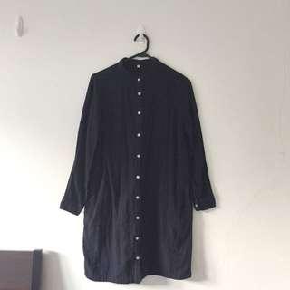 MUJI Navy Shirt Dress