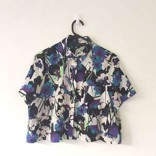 TOPSHOP Cropped Floral Shirt