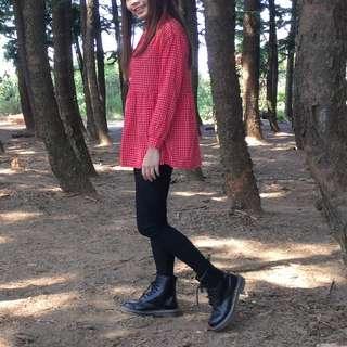紅格子小洋裝
