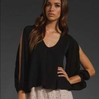 Lovers And Friends Cut Sleeve Black Blouse