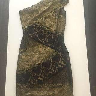One Shoulder Black and Gold Dress