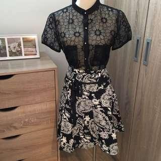 透膚前扣上衣L+黑白花紋裙L