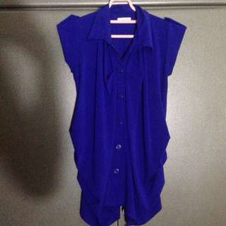 top blouse atasan biru