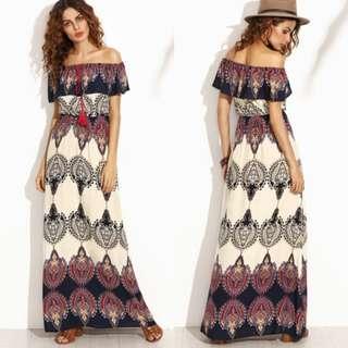 Multi-color Tribal print Off Shoulder maxi Dress