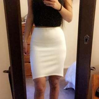 TEMT Off-White Pencil Skirt
