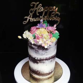 Naked Chocolate Cake With Gumpaste Flowers