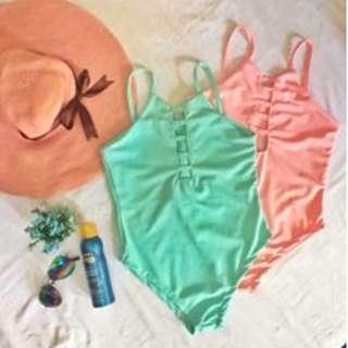 One Piece Pastel Color Swimsuit