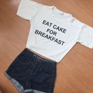 tumblr crop top 'Eat Cake for Breakfast' #IDoTrades