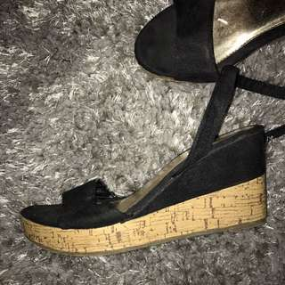 Black And Cork Wedges #under10