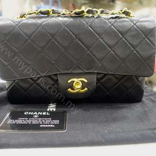 Chanel Vintage Black Lambskin Small double Flap Bag