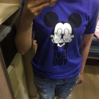 韓 米奇寶藍色上衣 素色圓領#一百元上衣