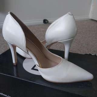 Zu Heels Shoes White Bridal Size 6 New Forever Wedding Formal