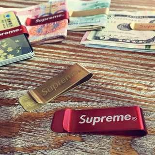 Supreme純銅錢夾潮牌鈔票零錢夾鈔票捆綁一盒兩只裝