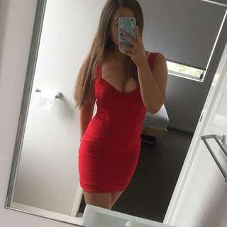 Dissh Red Bandage Dress